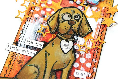 Meihsia Liu Simply Paper Crafts Mixed Media tag Tm Holtz Dog 2