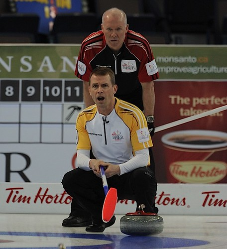 Edmonton Ab.Mar3,2013.Tim Hortons Brier.Manitoba skip Jeff Stoughton,Ontario skip Glenn Howard.CCA/michael burns photo | by seasonofchampions