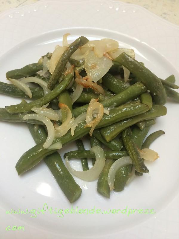 Fisolen, Grüne Bohnen mit Olivenöl, Zwiebel und Fleur de Sel
