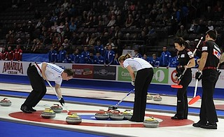 Penticon B.C.Jan10_2013.World Financial Group Curling.Team World lead Michael Goodfellow,skip Eve Muirhead,Team North America skip Heather Nedhoin,lead Dean Gemmell.CCA/michael burns photo | by seasonofchampions