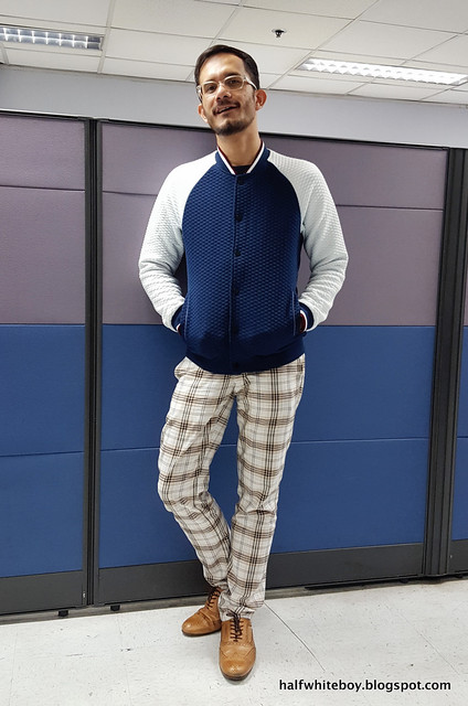 halfwhiteboy varsity jacket and plaid pants 03