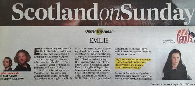 Scotland On Sunday, 11 September 2016, Emilie