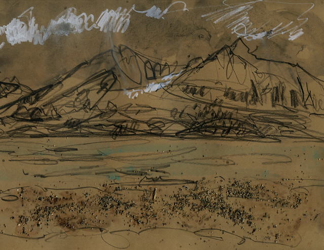 Alaska: gestural mountains, sand, watercolor on craft paper