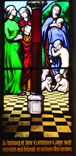 Jane Trimmer Gaye window: symbols of birth (by George Hedgeland for Frank Howard, 1852)