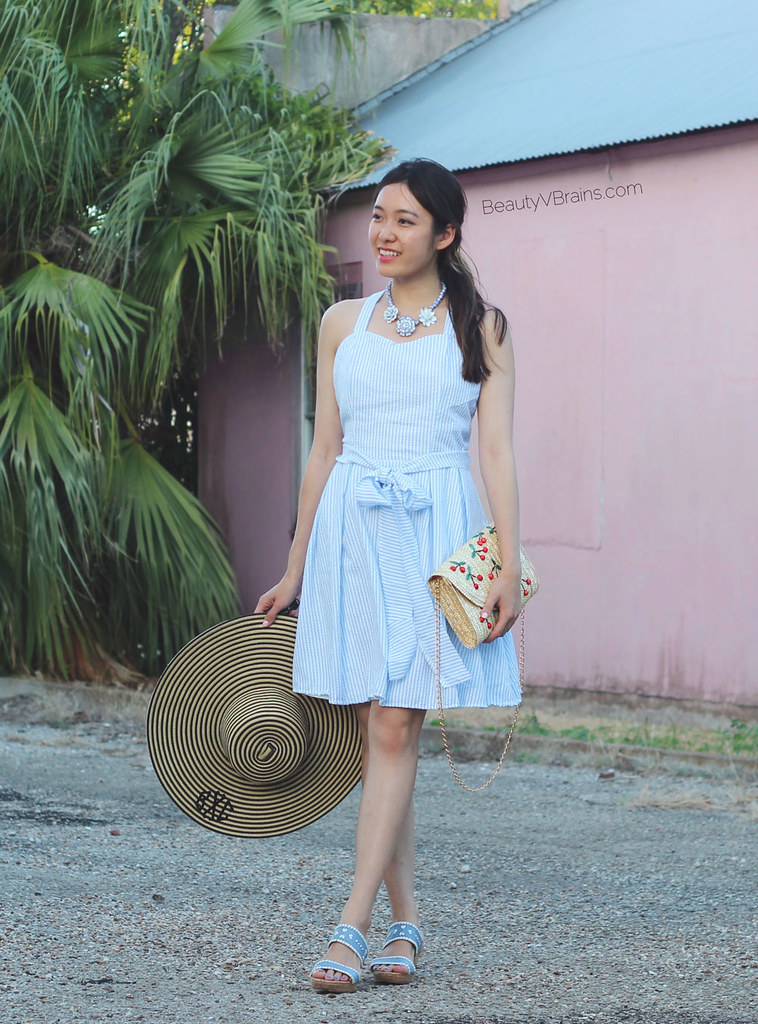 Striped bow back dress and monogrammed sun hat