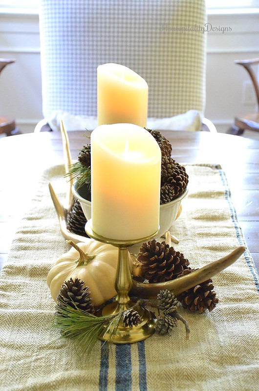 Fall Vignette - Pinecones - Antlers - Vintage Grain Sack - Housepitality Designs