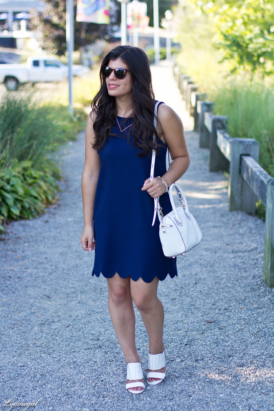 navy scalloped dress, rebecca minkoff bag and sandals.jpg