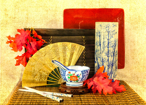 Asian Still Life with Porcelain Dishes and Gold Fan