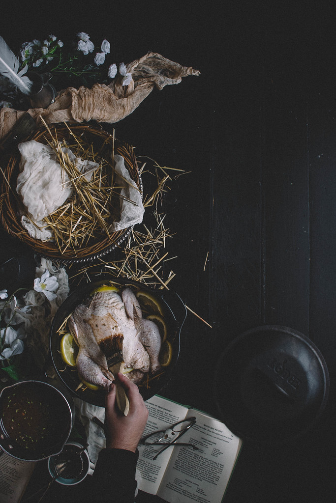 Lemon Thyme Hay-Roasted Chicken with Herb Butter Stuffing | TermiNatetor Kitchen