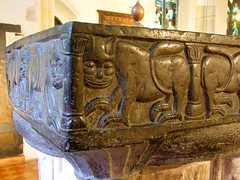 bewhiskered lion on the font