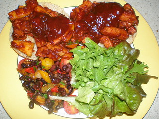 Tempeh and Sweet Peppers with Bourbon-Spiked Barbecue Sauce; Sweet Pepper and Balsamic Bean Salad (TGOV)