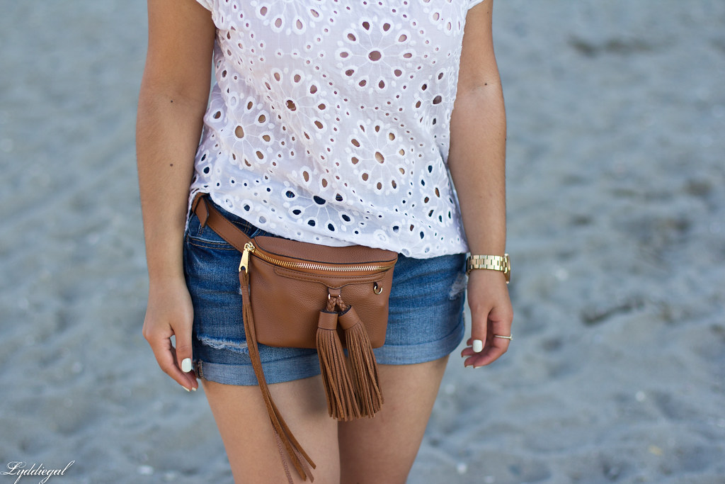 white eyelet lace blouse, denim shorts, waist bag-3.jpg