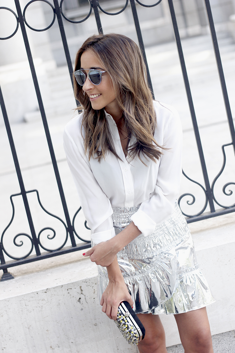 Isabel Marant Metallic Skirt white shirt nude sandals dior so real sunnies outfit style fashion12