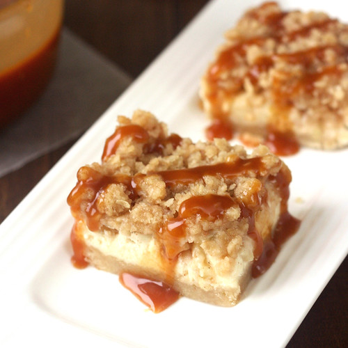 Caramel Apple Cheesecake Bars with Streusel Topping | by Tracey's Culinary Adventures