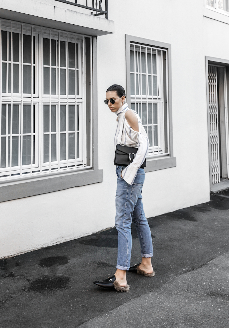 bassike lo slung jeans Gucci dionysus bag black fur horsebit loafers Tibi pinstripe shirt cold shoulder street style fashion blogger minimal modern legacy (4 of 8)