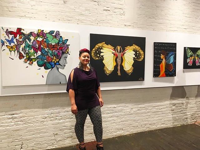 About last night...thank you @shatamel for this shot in front of the pieces I had on display at The DaVinci Code show on 8/27/16. Thank you to @djxink for inviting me to be a part of this amazing event at @artistsof305knowlton and thank you again to my be