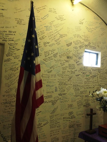 Wall of remebrance signed by visiting vets
