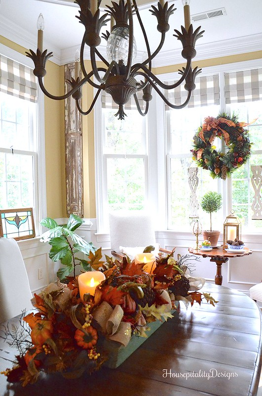 Balsam Hill Fall Harvest Garland and Charleston Wreath - Dining Room - Housepitality Designs