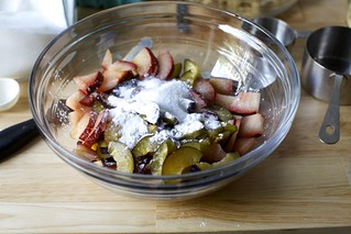 sugar and flour with plums