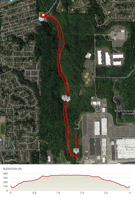 """Today""""s awesome walk, 4 miles in 1:22, 8,914 steps, 399ft gain"""