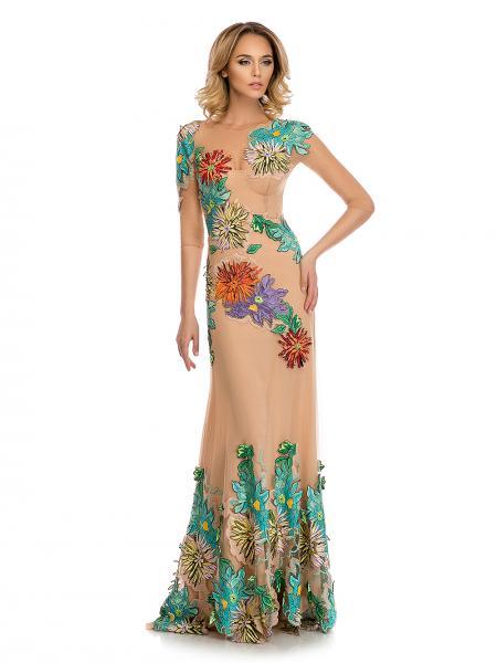 rochie nude Blumarine cu motive florale