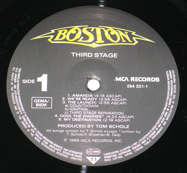 """Boston Third Stage 12"""" vinyl LP"""