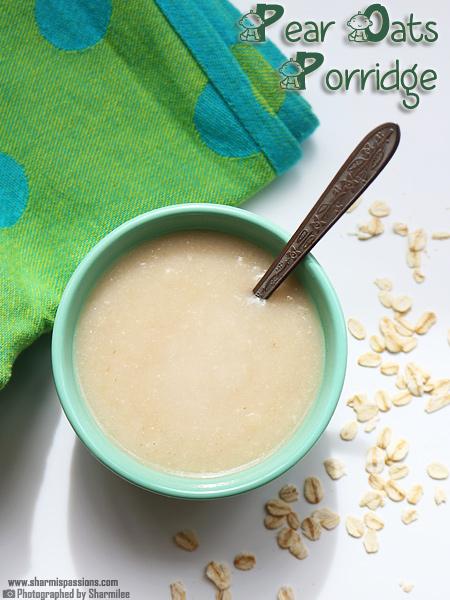 Pear Oats Porridge Recipe for Babies