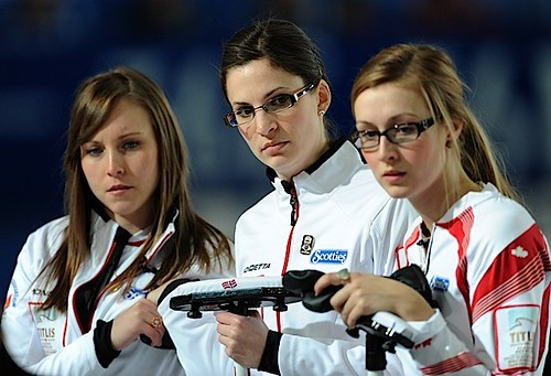 Riga Latvia,Mar21.2013.Titlus Woman's World Curling Championship.Canadian skip Rachel Homan,lead Lisa Weagle,second Alison Kreviazuk.CCA/michael burns photo | by seasonofchampions