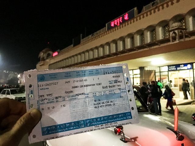 My rail ticket and Jaipur Junction railway station late at night, India 夜のジャイプール鉄道駅と私のチケット
