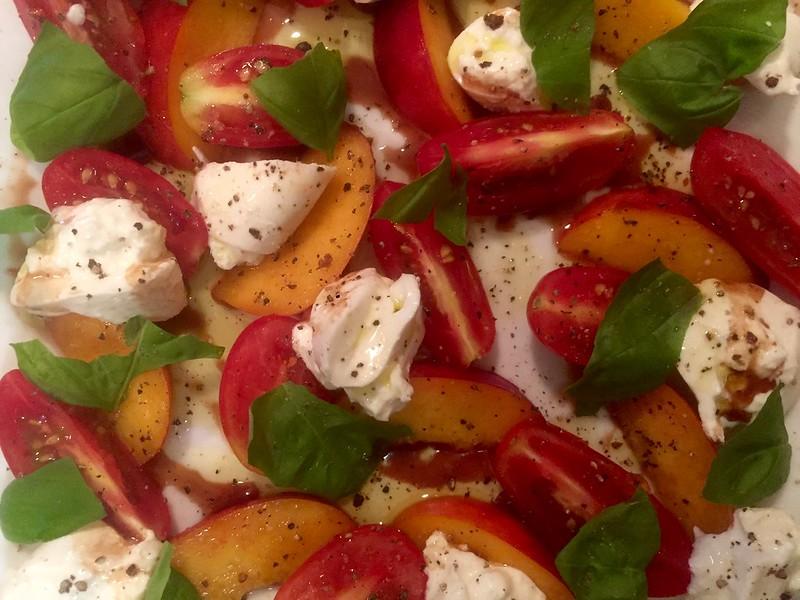 Nectarine and burrata salad