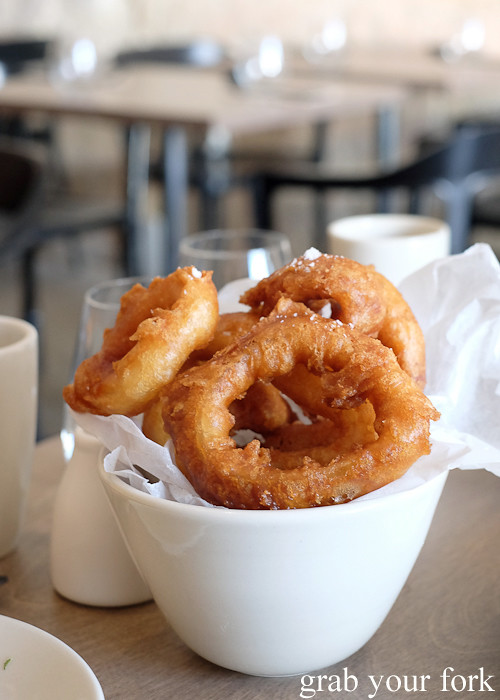 Salt and vinegar onion rings at Saint Peter by Chef Josh Niland in Paddington Sydney