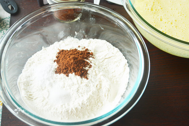 Adding dry ingredients for carrot cake
