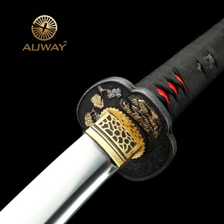 Auway-samurai-sword- Characters-Tsuba-Black-scabbard-handle