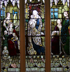 Blessed Virgin and child flanked by Thomas and Mary Ann Hill and their children (Ward & Hughes, 1912)