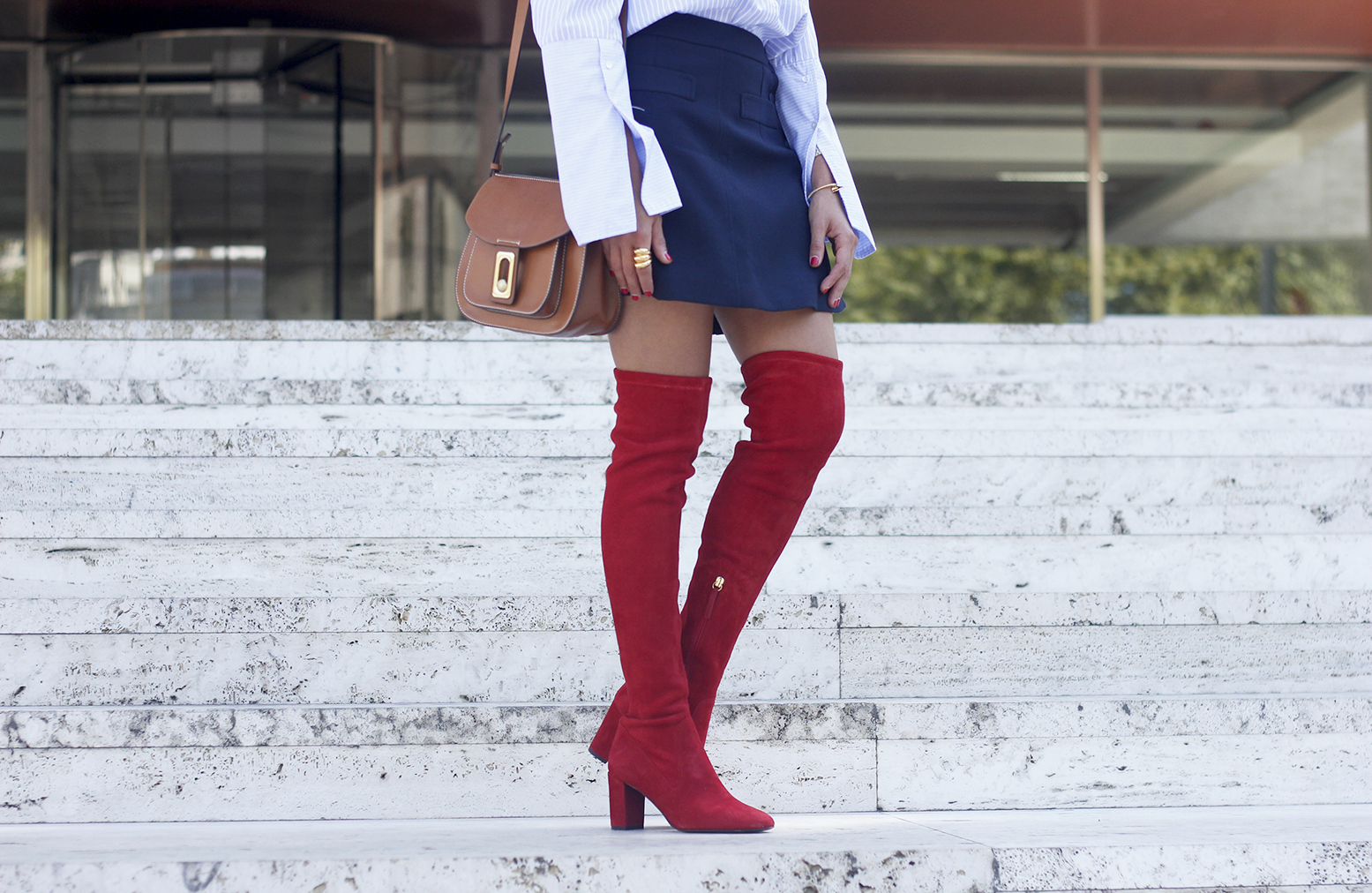 Red over the knee boots blue skirt sunnies accessories outfit style fashion07