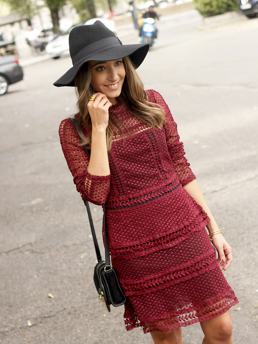 burgundy lace dress black heels hat accessories outfit fashion style18