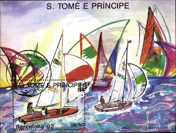 Známky Svätý Tomáš 1989 LOH Barcelona, razÃ-tkovaný hárÄek