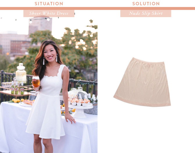 what to wear under a white sheer dress skirt