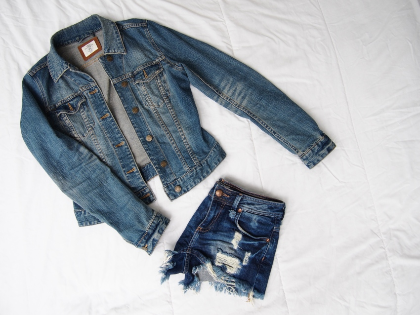 Denim jacket, denim shorts