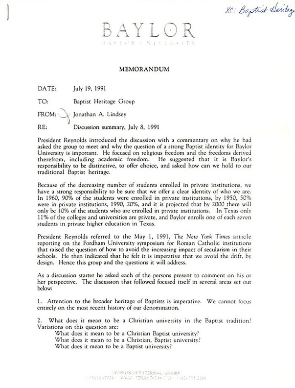 Memorandum from Jonathan Lindsey to the Baptist Heritage Group, 1991 July 19