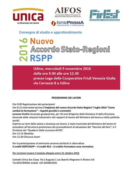 Convegno di Studio ed Approfondimento sul nuovo Accordo Stato-Regioni del 7 Luglio 2016