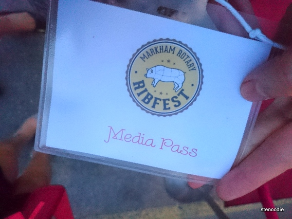 media pass to the Markham Rotary Ribfest