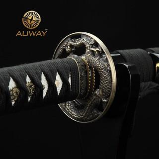 Auway-samurai-sword-Dragon-Tsuba-Black-scabbard-6