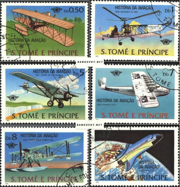 Známky Svätý Tomáš 1979 História letectva, razÃ-tkovaná séria