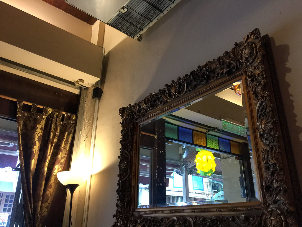 The antique mirror in Far East Cafe, Melaka