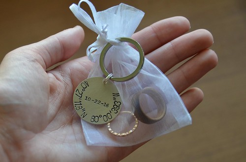 Rings in an Organza Bag with GPS/date Coordinates Keychain