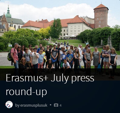 Erasmus+ July press round-up students in front of castle