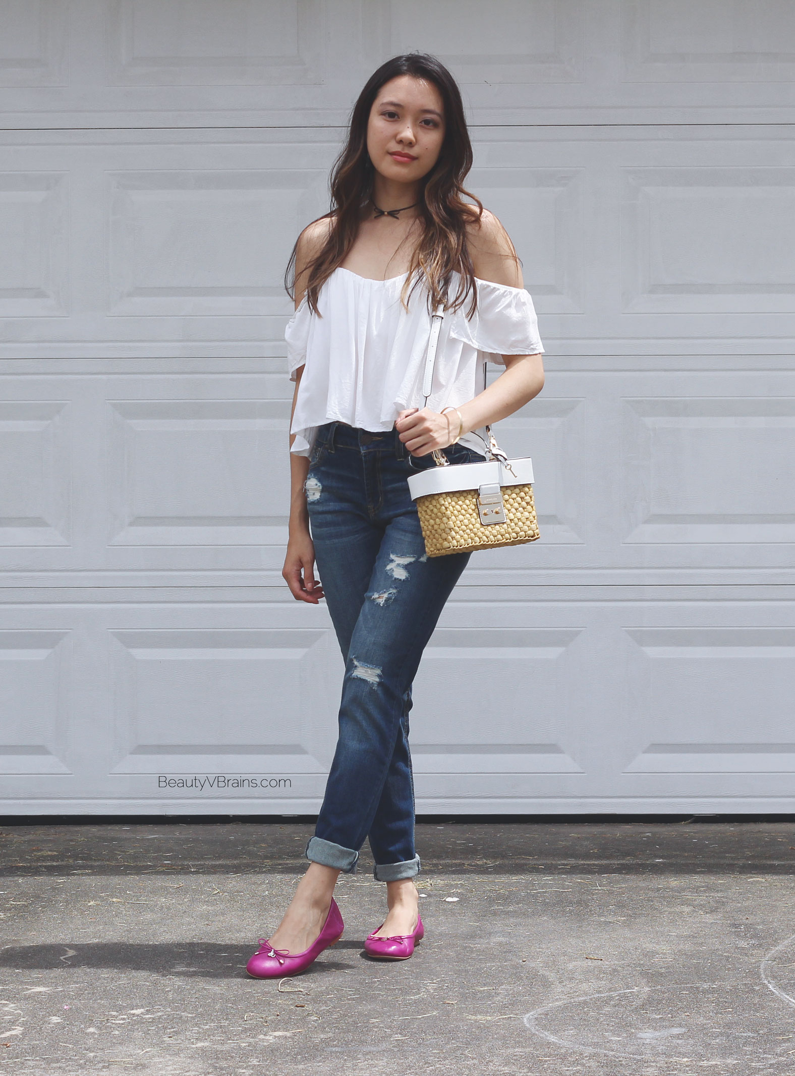 White off the shoulder top and purple Sam Edelman flats