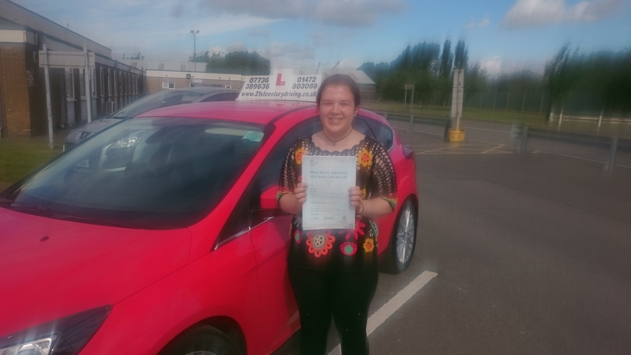 Phoebe Inglis passes her driving test in Grimsby after taking her lessons with 21st Century Driving