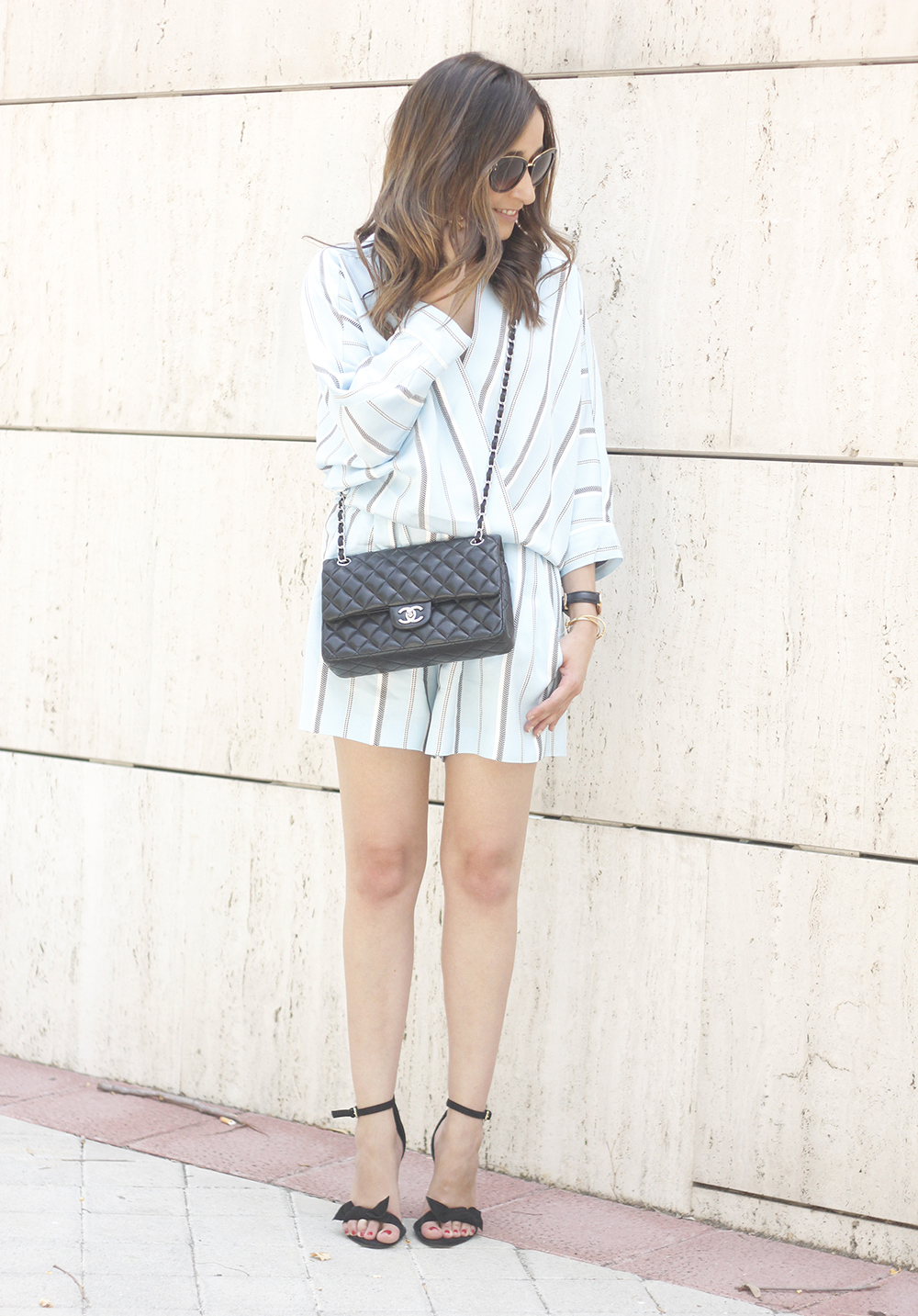 Maje Jumpsuit with stripes black heels chanel bag summer outfit street style fashion08